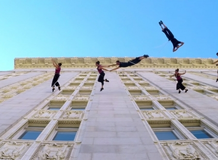 Bandaloop Dance Troupe Gives Vertical Aerial Dance Performance on the Side of the City Hall Building as Part of Art + Soul Festival