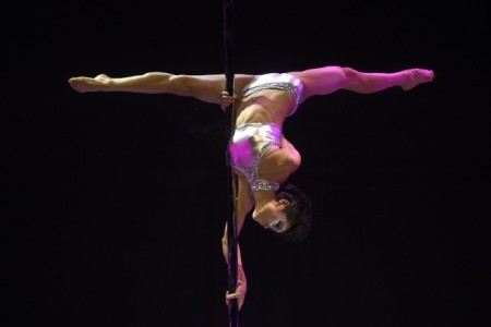 Chinese pole dancer Fang Yi competes at the 2015 World Pole Championships in Beijing.