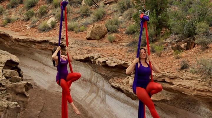 Aerial dancer creates vertical art