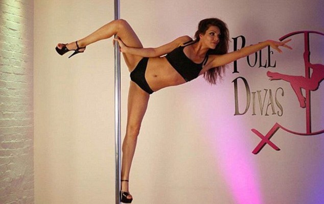 Former Bachelor contestant Natalie Sady shows off her pole dancing skills