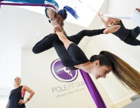 Aerial silks acrobatics in Dubai