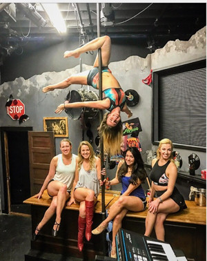 Eagle Theatre Cast of ROCK OF AGES Trains in Pole Fitness