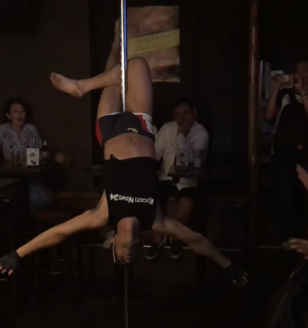 Mr. Sato makes his pole dancing performance debut after 8 months of serious workout